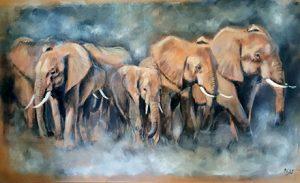 Nouveau tableau Famille d'éléphants sur acrylique