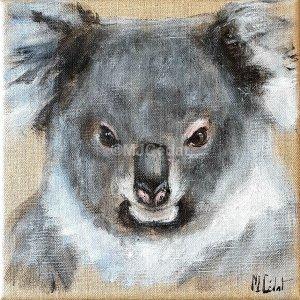 Koala – Acrylique sur lin brut – 20 x 20 cm