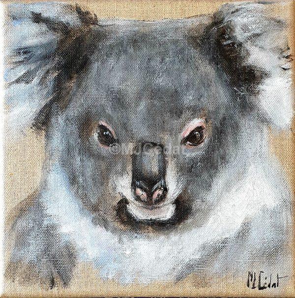Koala - Acrylique sur lin brut - 20 x 20 cm - peinture animalière Marie-Joëlle Cédat