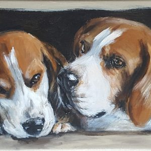 4 beagles en long – Acrylique sur lin brut – 90 x 30 cm