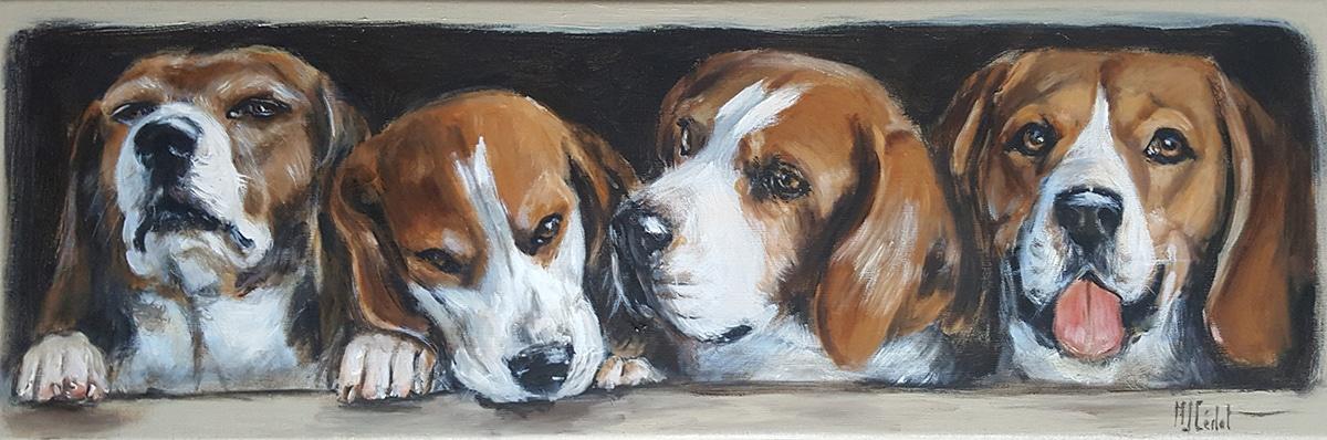 beagles chiens-Marie-Joëlle Cédat-artiste animalier peinture animaliere-art-animalier- peintre-animalier