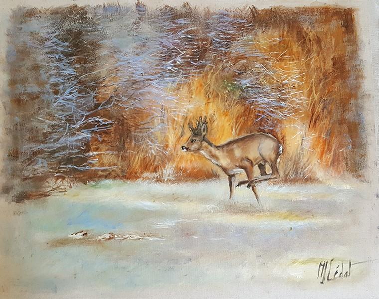 Brocard dans le gel du matin – Acrylique sur toile de lin brut 100 x 80 cm