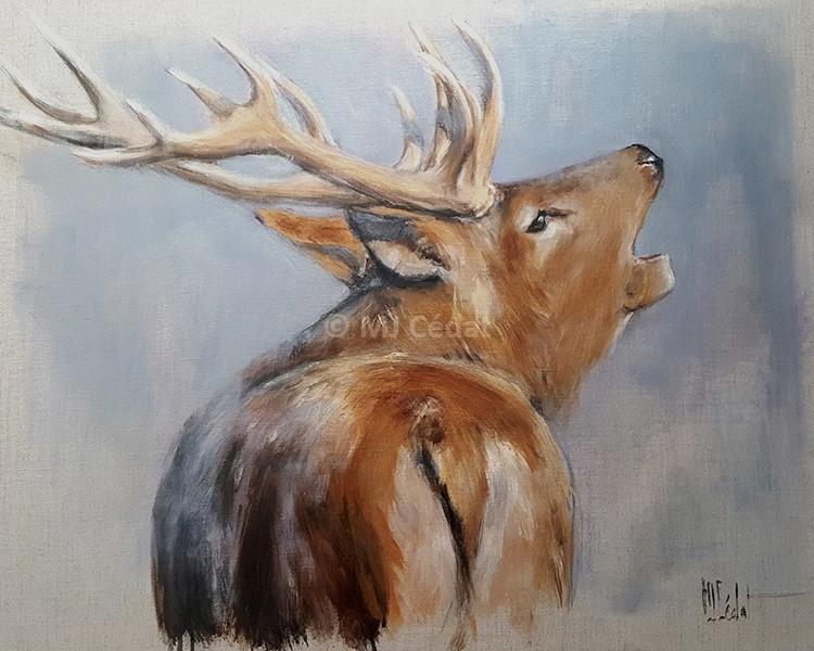 Brame du cerf – Acrylique sur toile de lin brut 70 x 60 cm – Prix ***