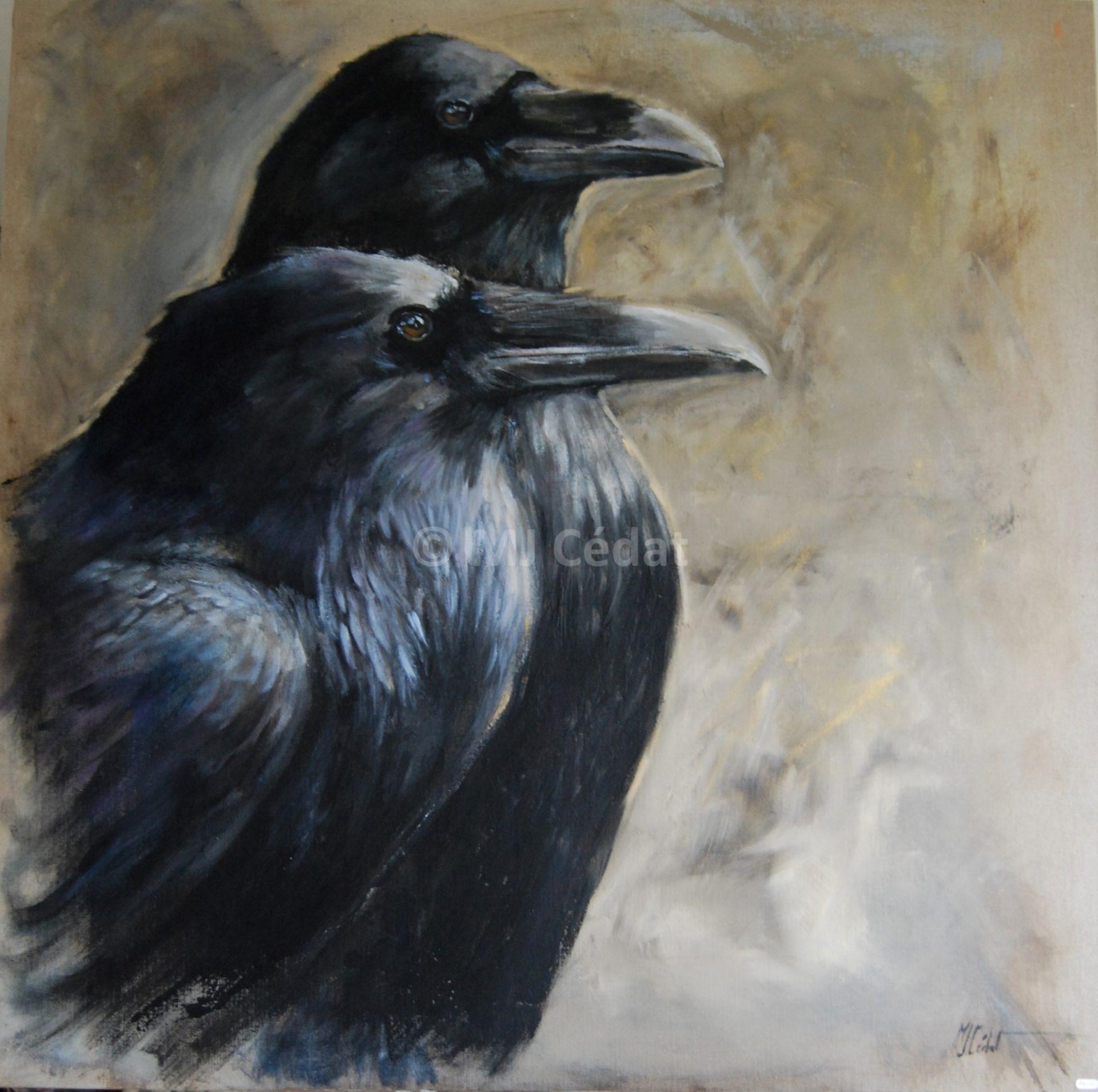 Grands corbeaux – Acrylique sur toile de lin brut 100 x 100 cm