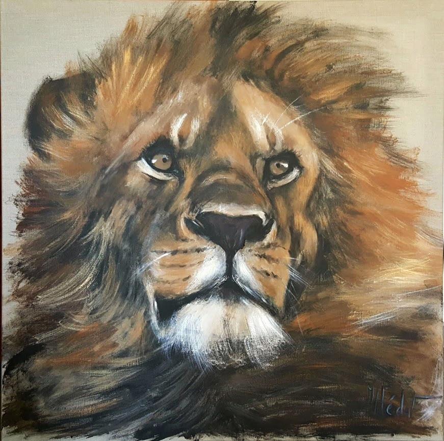 lion-Marie-Joëlle Cédat-artiste animalier peinture animaliere-art-animalier- peintre-animalier