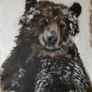 Ours brun dans la neige – Acrylique sur lin brut – 65 x 81 cm