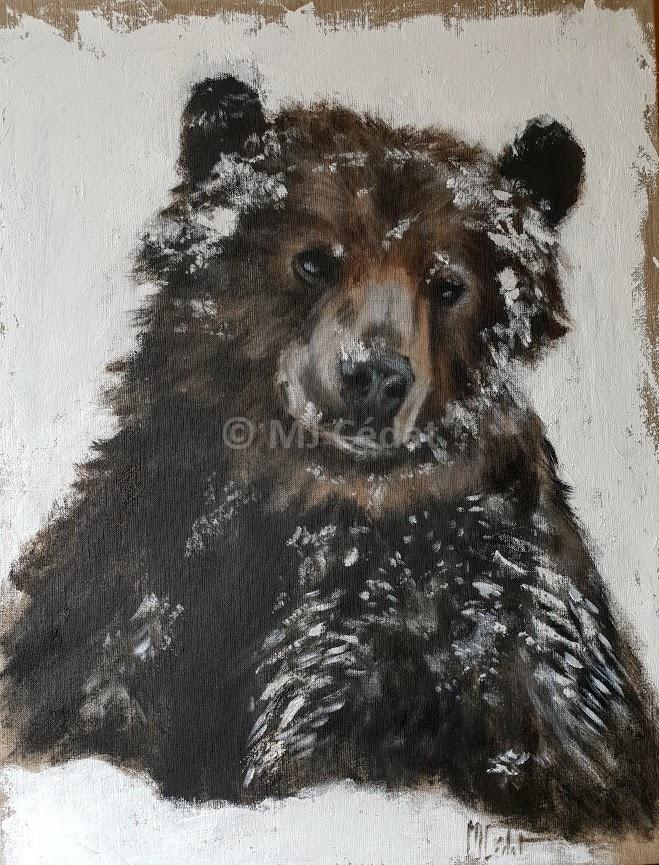 Ours brun dans la neige – Acrylique sur toile de lin brut 65 x 81 cm