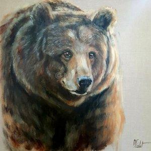 Ours brun – Acrylique sur lin brut – 80 x 80 cm