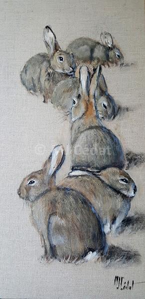 Lapins au soleil – Acrylique sur toile de lin brut 30 x 60 cm