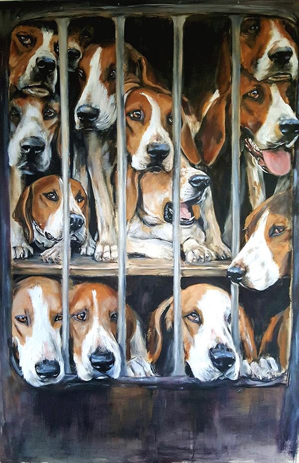 Anglos dans le camion -Marie-Joëlle Cédat-artiste animalier peinture animaliere-art-animalier- peintre-animalier