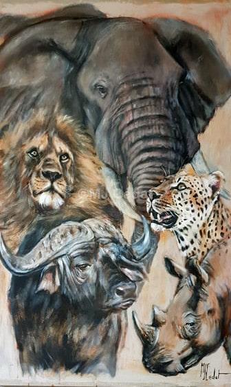 Big Five - Acrylique sur lin brut - 150 x 100 cm - Prix******