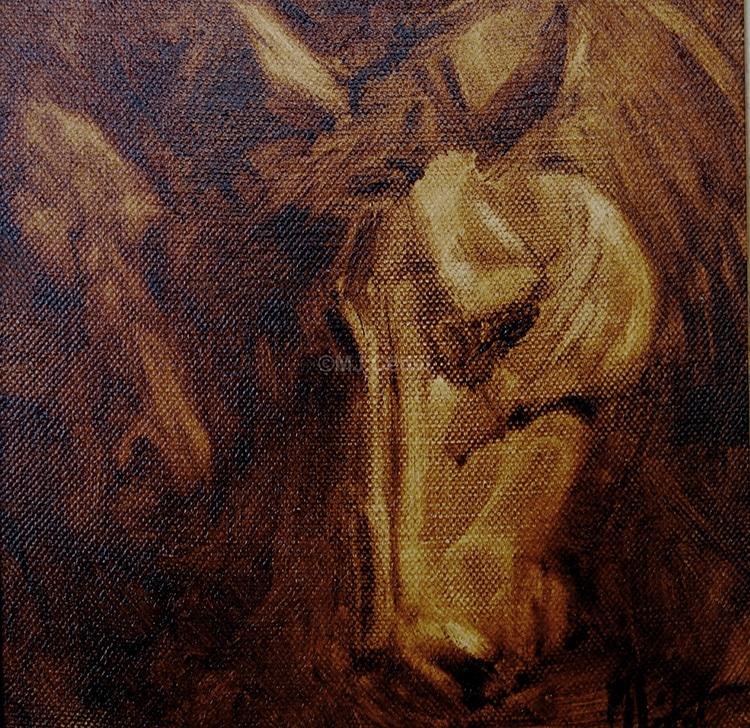 Cheval monochrome -Marie-Joëlle Cédat-artiste animalier peinture animaliere-art-animalier- peintre-animalier