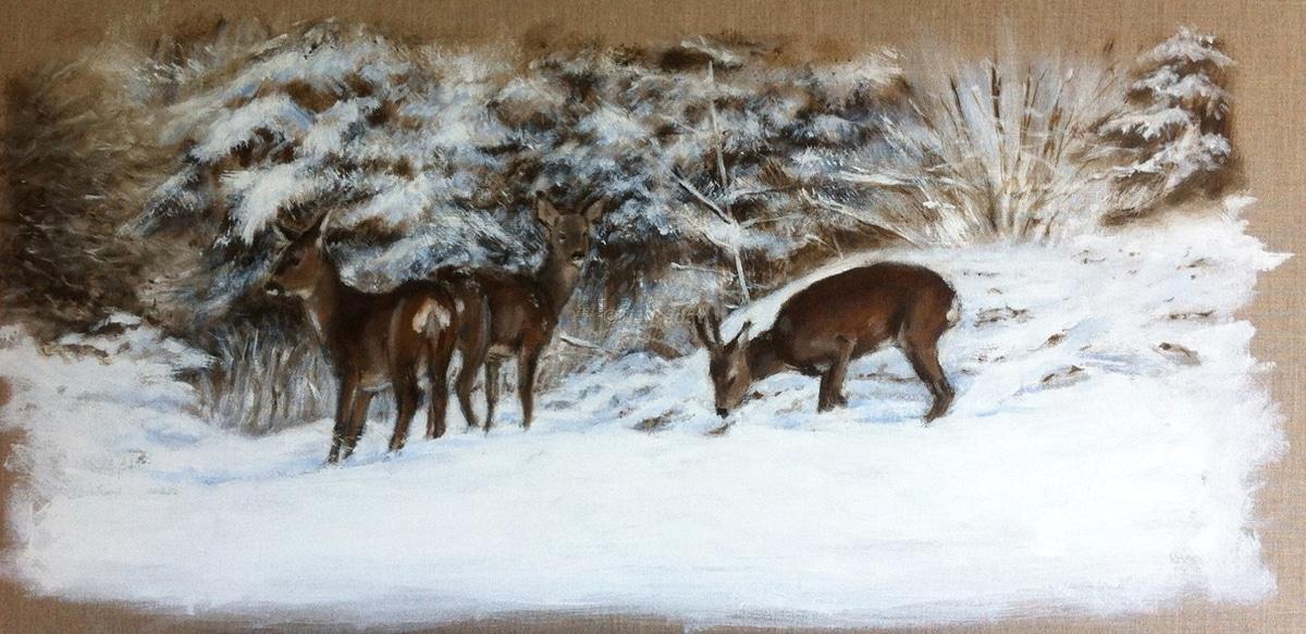 Chevreuils dans la neige -Marie-Joëlle Cédat-artiste animalier peinture animaliere-art-animalier- peintre-animalier