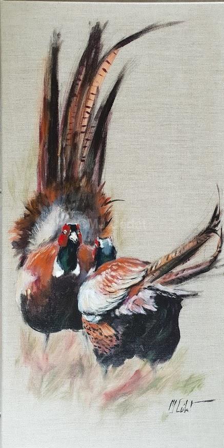 Combat de faisans -Marie-Joëlle Cédat-artiste animalier peinture animaliere-art-animalier- peintre-animalier