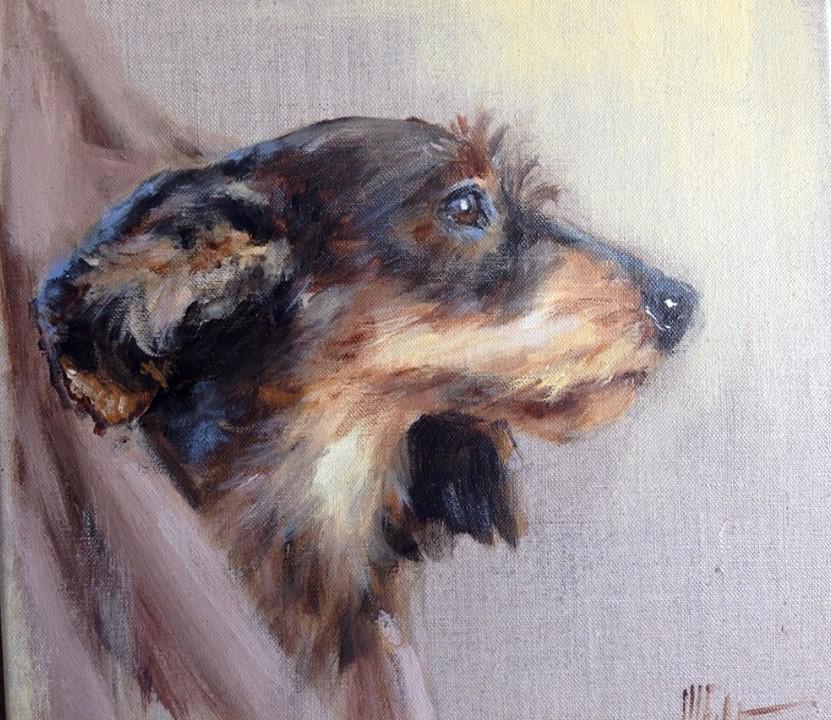Départ pour la recherche teckel -Marie-Joëlle Cédat-artiste animalier peinture animaliere-art-animalier- peintre-animalier
