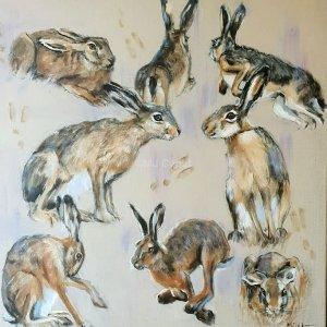 Etude de lièvres – Acrylique sur lin brut – 80 x 80 cm