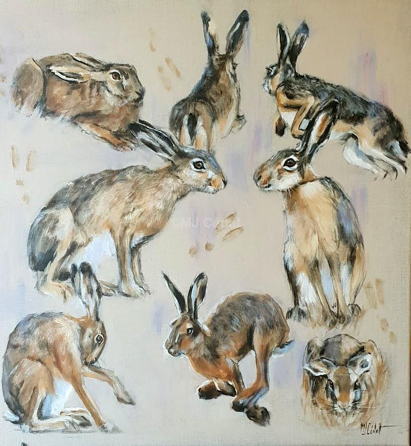Etudes de lièvres - Acrylique sur lin brut - 80 x 80 cm
