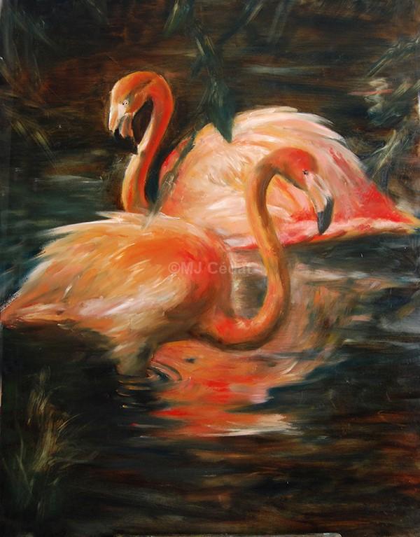 flamants roses du mexique -Marie-Joëlle Cédat-artiste animalier peinture animaliere-art-animalier- peintre-animalier