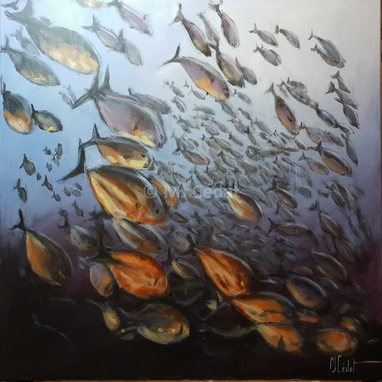 Banc de poissons Acrylique sur toile de lin brut-Marie-Joëlle Cédat-artiste animalier peinture animaliere-art-animalier- peintre-animalier