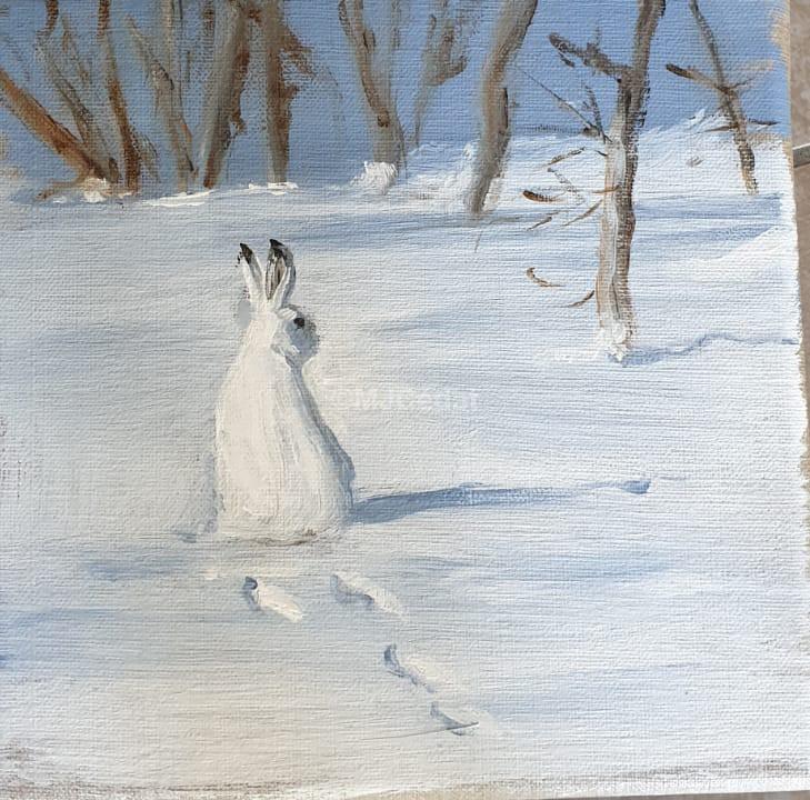 Lièvre variable - Acrylique sur lin brut - 20 x 20 cm - peinture animalière Marie Joëlle cédat