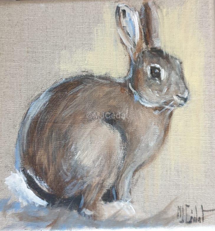 Lapin de garenne - Acrylique sur lin brut - 20 x 20 cm - peinture animalière Marie-Joëlle Cédat-Marie-Joëlle Cédat-artiste animalier peinture animaliere-art-animalier- peintre-animalier