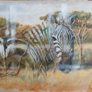 Zèbre en mirage – Acrylique sur lin brut – 92 x 75 cm