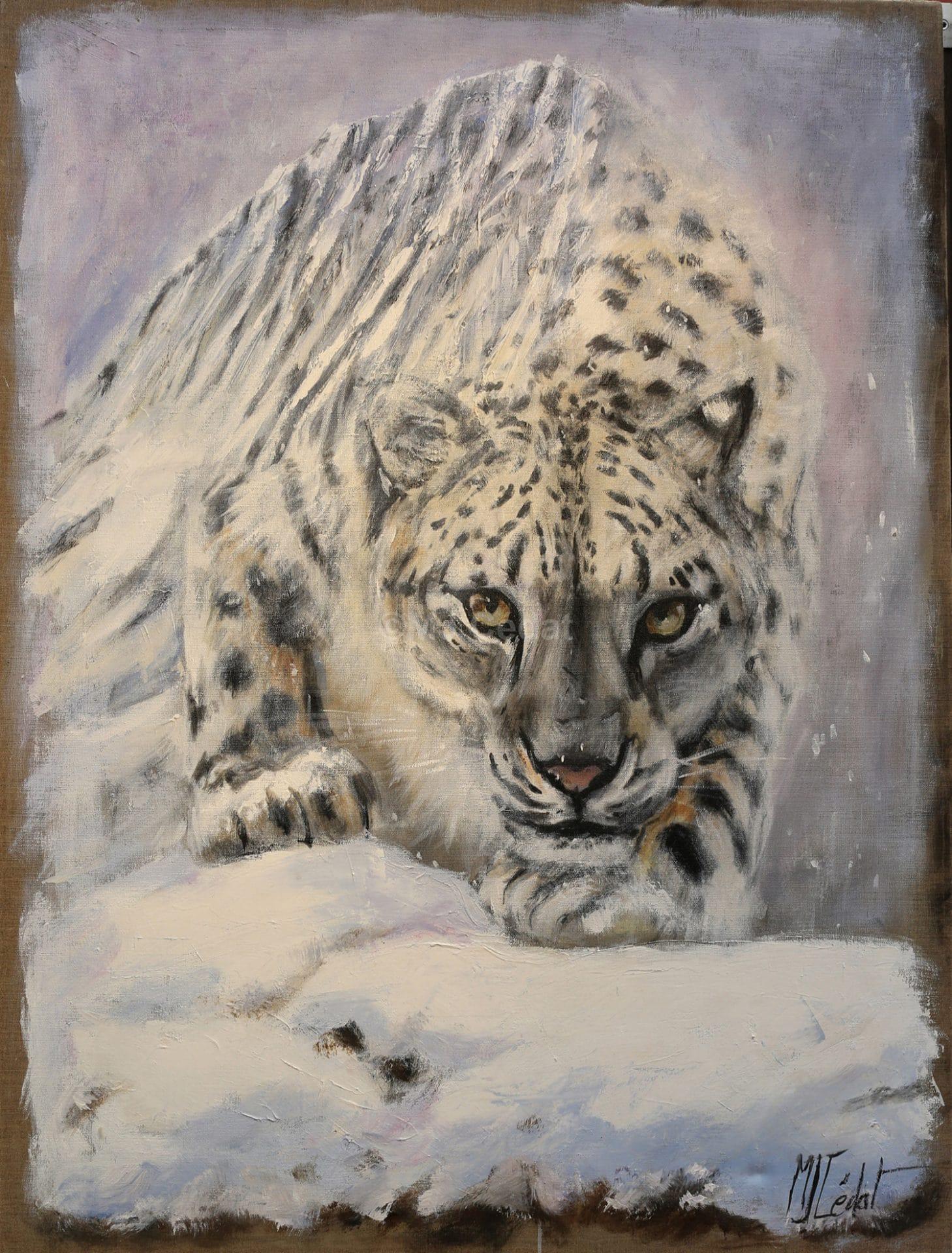 La montagne lui appartient - Acrylique sur lin brut - 130 x 90 cm - Vendu