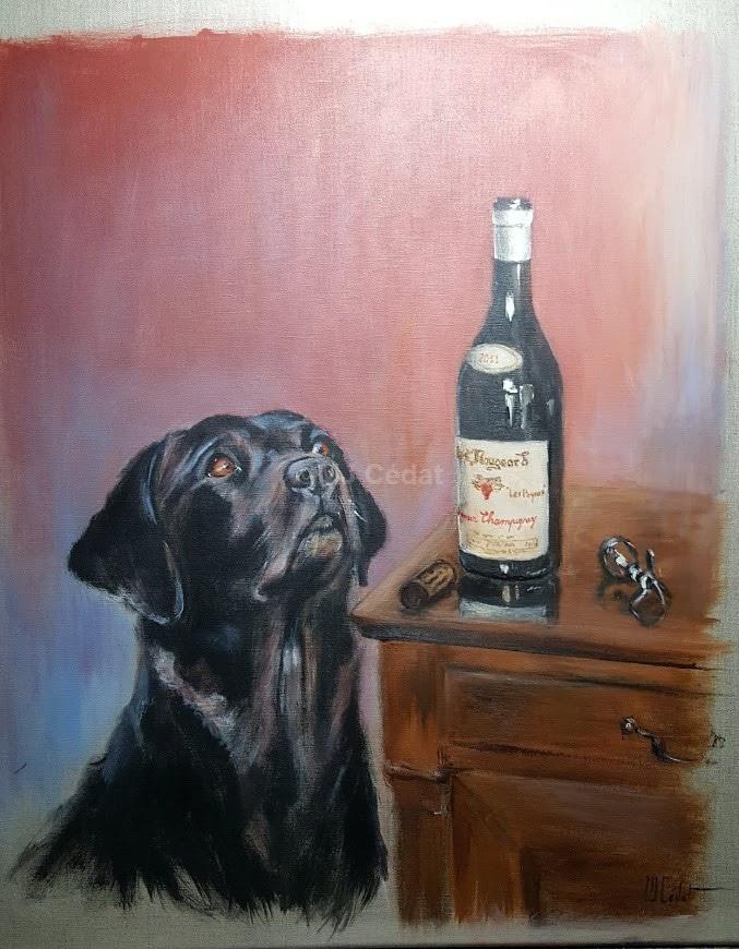 Labrador et bouteille - Acrylique sur lin brut - 75 x 55 cm