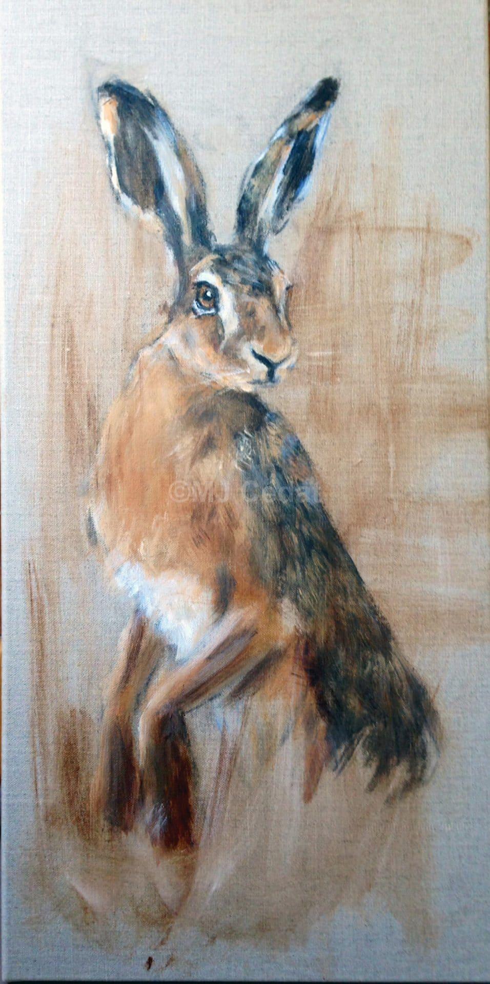 Llievre assis -Marie-Joëlle Cédat-artiste animalier peinture animaliere-art-animalier- peintre-animalier