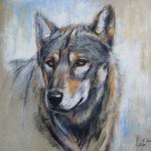 Loup de face – Acrylique sur lin brut – 80 x 80 cm