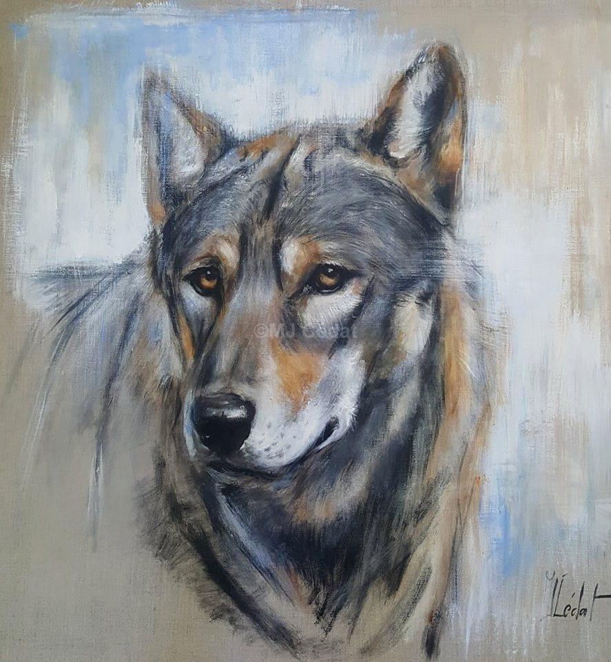 Loup de face - Acrylique sur lin brut - 80 x 80 cm