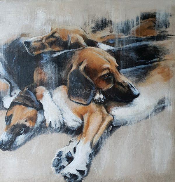 Meute couchée chien-Marie-Joëlle Cédat-artiste animalier peinture animaliere-art-animalier- peintre-animalier