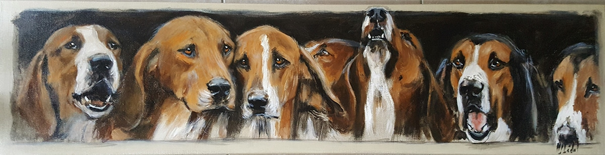 On y va bientôt meute chiens-Marie-Joëlle Cédat-artiste animalier peinture animaliere-art-animalier- peintre-animalier