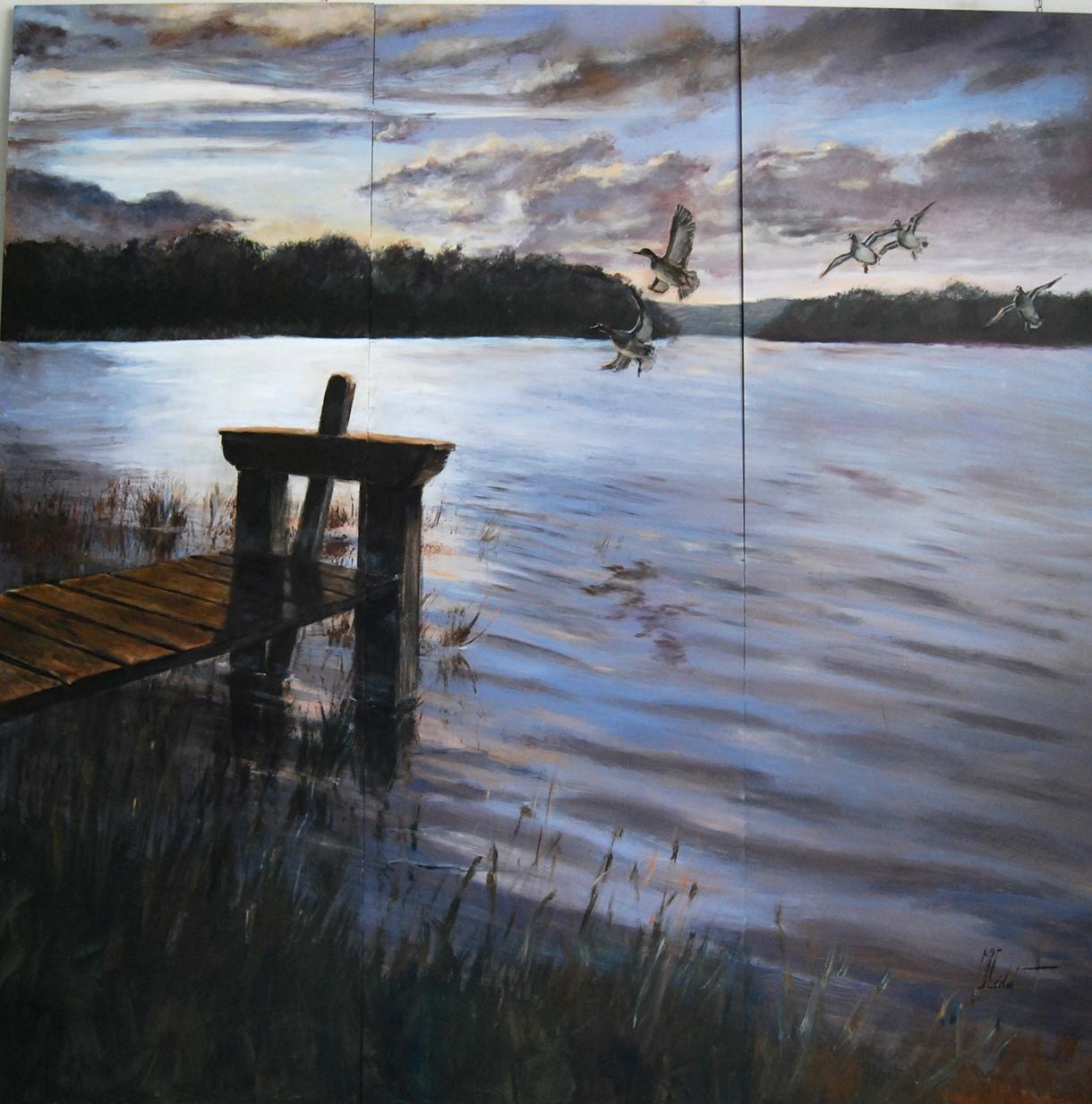 Paravent sologne face verso – Acrylique sur panneau de bois 180 x 180 cm