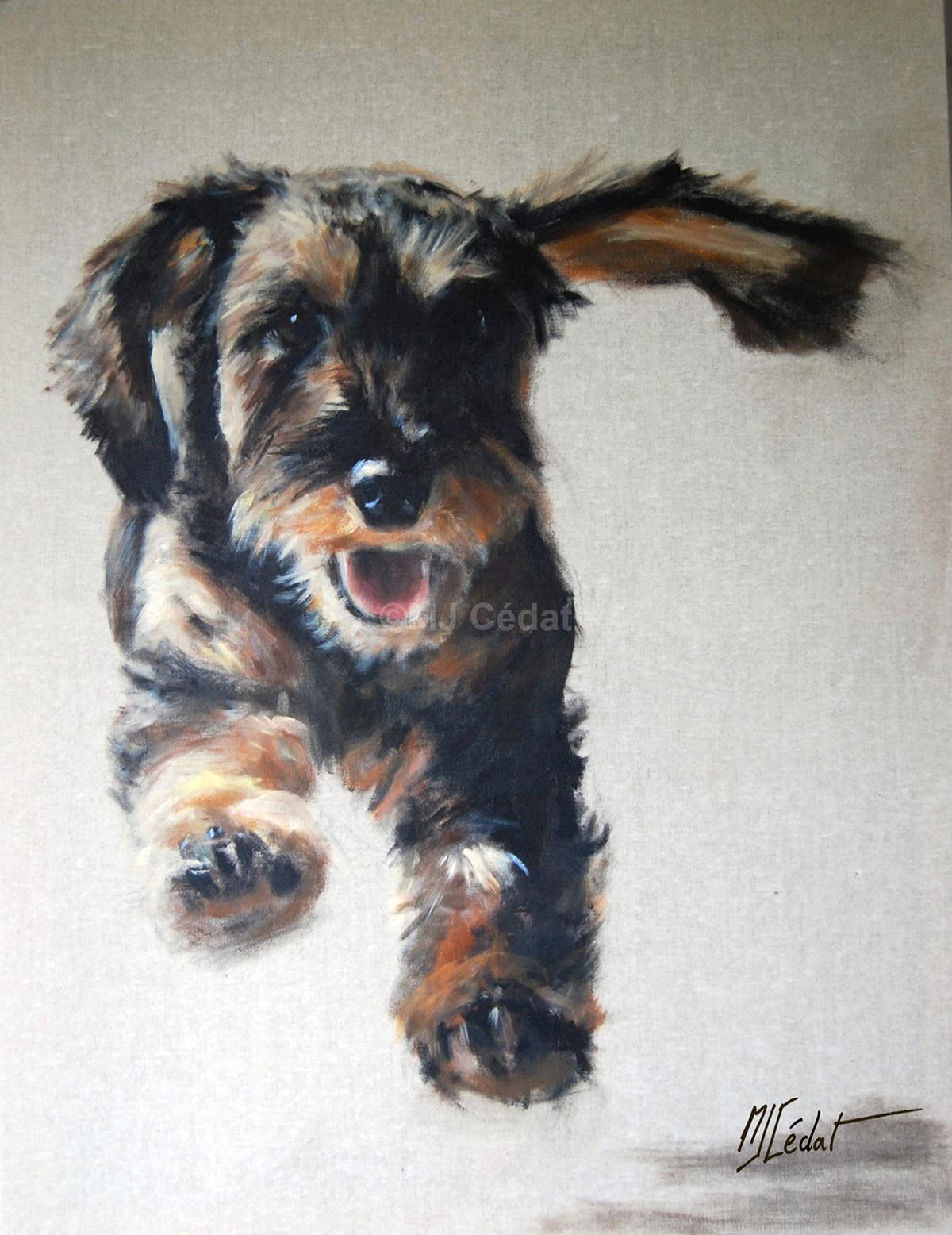 Teckel qui court - Acrylique sur lin brut - 120 x 80 cm - Vendu (a servi d'affiche Animal Art Bruxelles)
