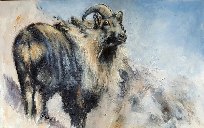 Thar - Acrylique sur lin brut - 120 x 80 cm