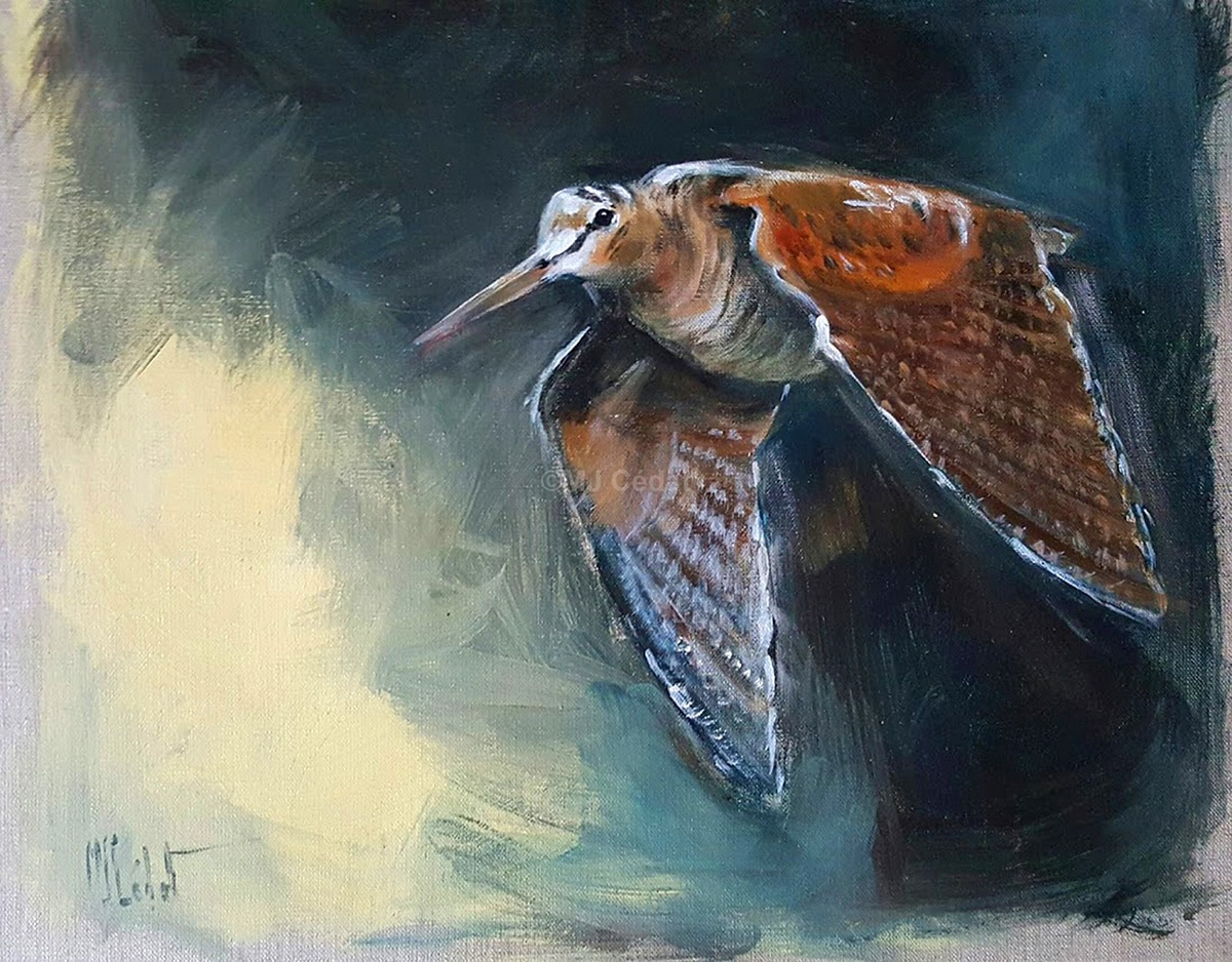 Vol de nuit - Acrylique sur lin brut - 50 x 40 cm