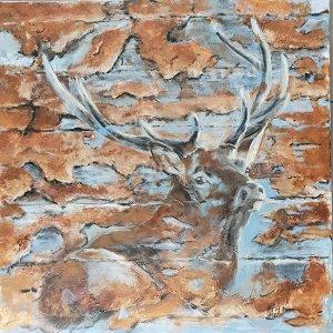 Cerf en mirage – Acrylique sur lin brut – 80 x 80 cm