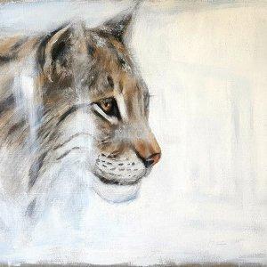 Lynx ibérique – Acrylique sur lin brut – 80 x 70 cm