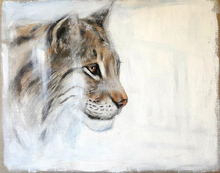 Lynx Ibérique – Acrylique sur toile de lin brut 80 x 70 cm