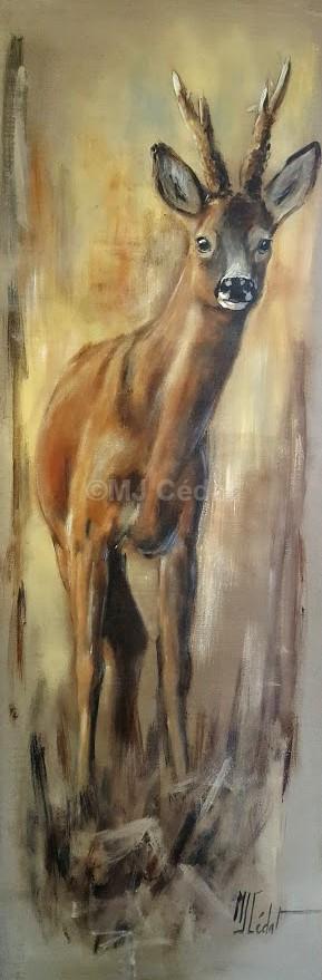 chevreuil-Marie-Joëlle Cédat-artiste animalier peinture animaliere-art-animalier- peintre-animalier