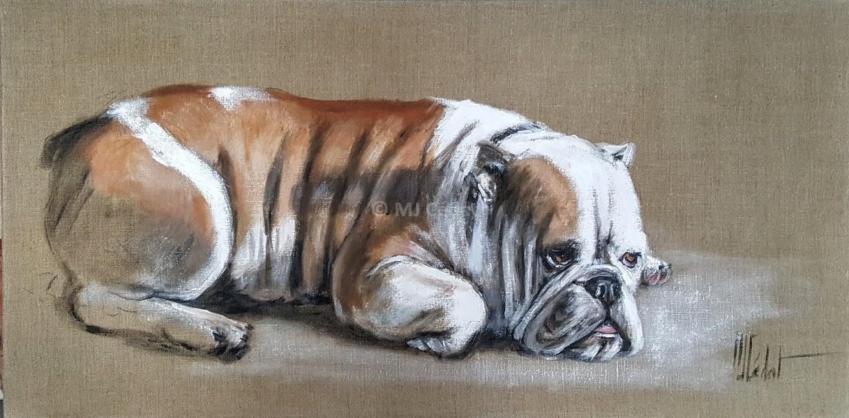 Bull Dog anglais couché – Acrylique sur toile de lin brut 100 x 50 cm