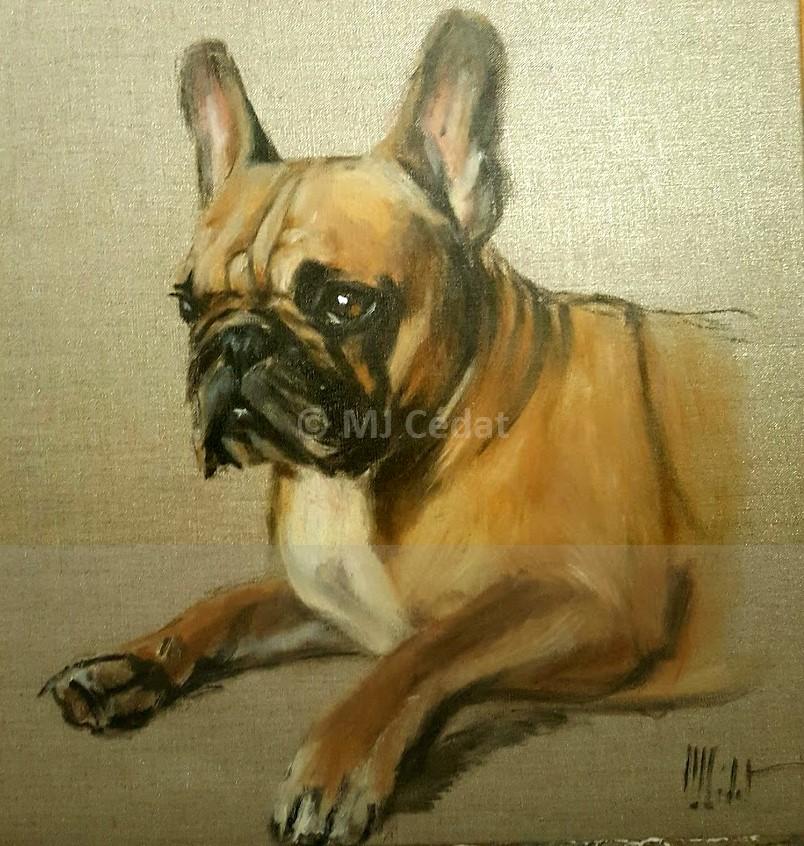 Bull dog français – Acrylique sur toile de lin brut 50 x 50 cm