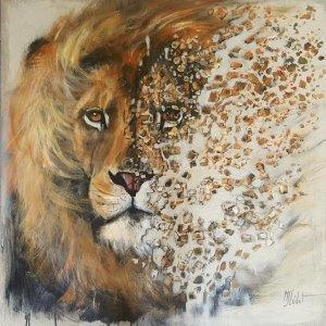 Je vous tire ma révérence – Lion désintégré – Acrylique sur lin brut – 70x70cm