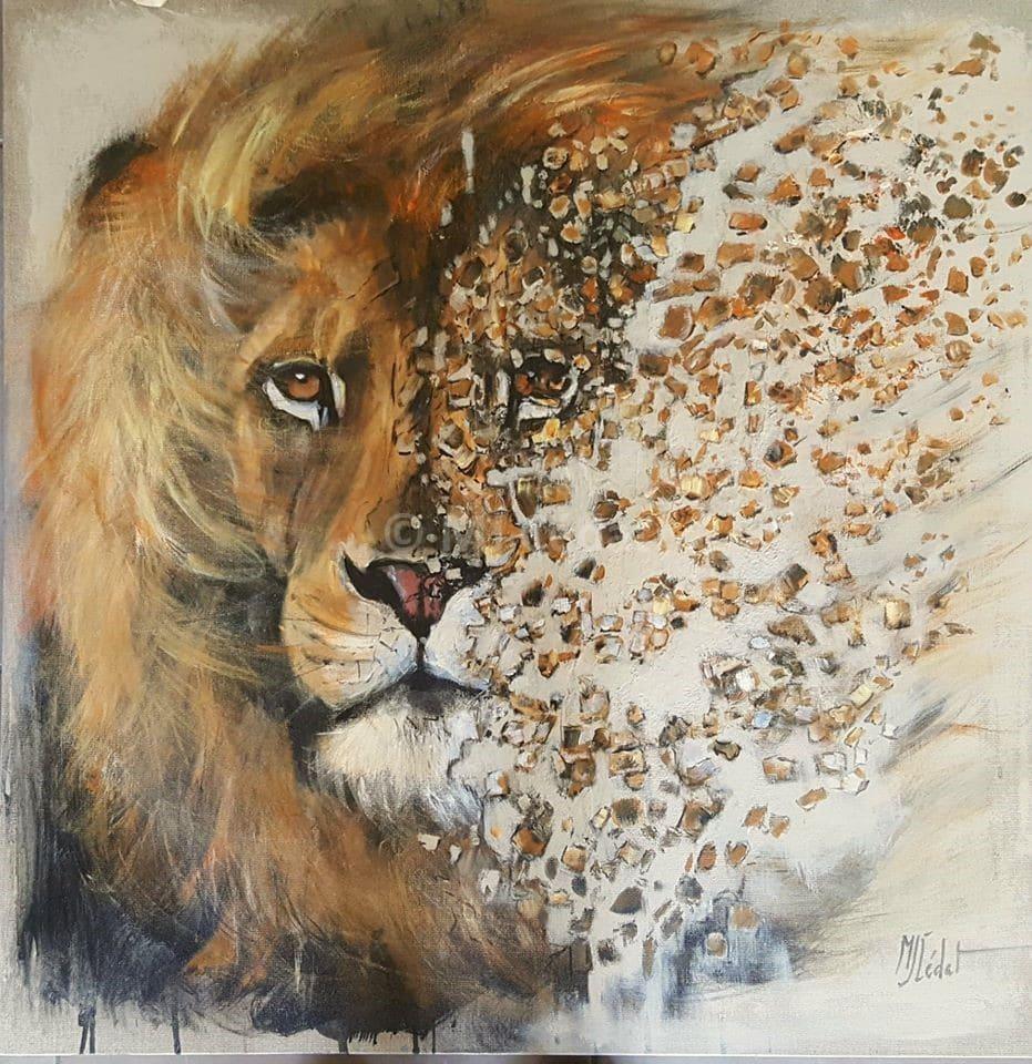 acrylique sur lin brut desintegration du lion