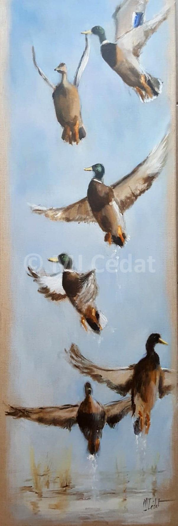 Envol de canards – Acrylique sur toile de lin brut 40 x 120 cm