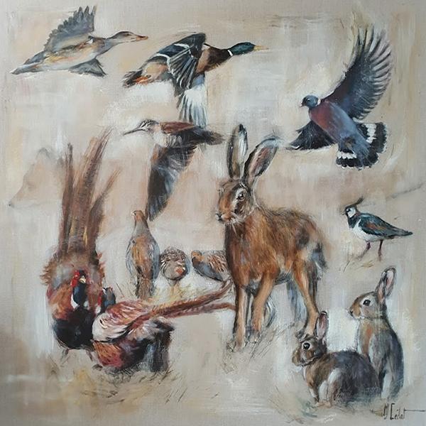 petit gibiers lapin lièvre faisans canards perdrix-Marie-Joëlle Cédat-artiste animalier peinture animaliere-art-animalier- peintre-animalier
