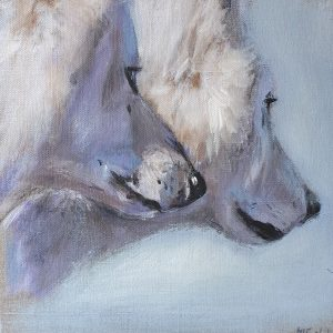 Loups de profils – Acrylique sur lin brut – 30 x 30 cm