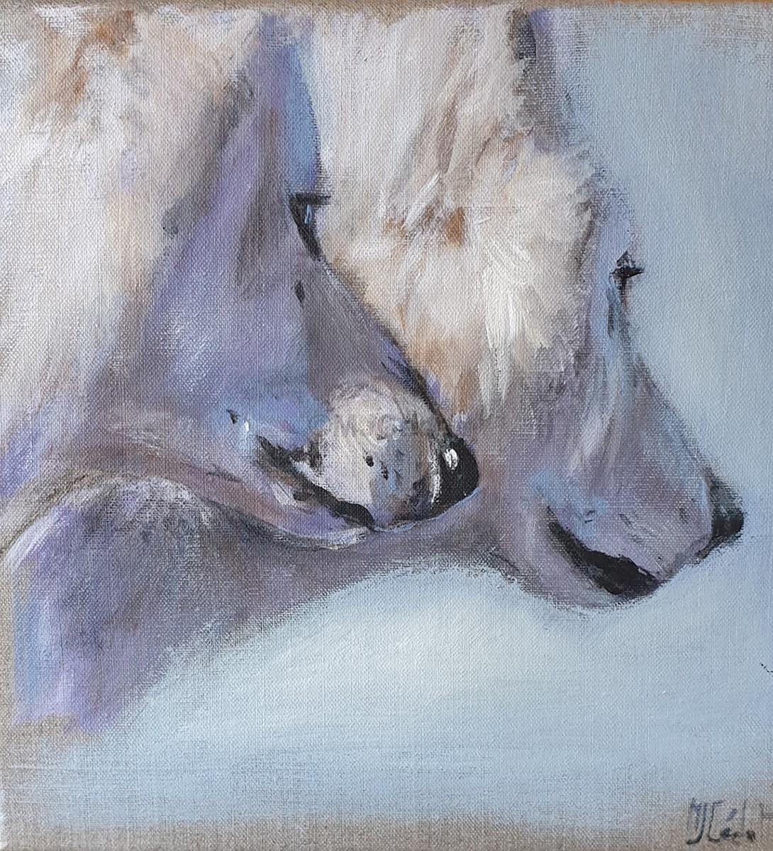Loups de profils -Marie-Joëlle Cédat-artiste animalier peinture animaliere-art-animalier- peintre-animalier