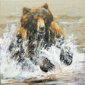Grizzly manque son saumon – Acrylique sur lin brut – 70 x 70 cm